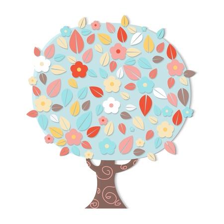 appletree: Fantastic Tree With Flowers, Vector Illustration