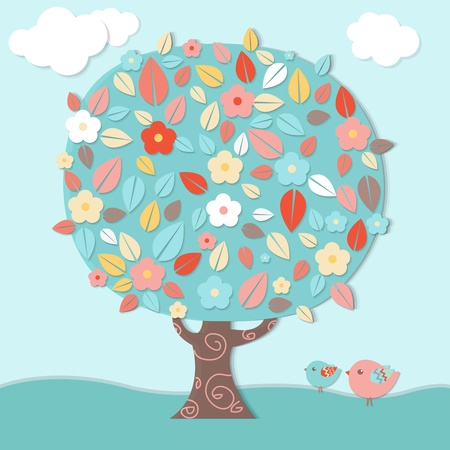 Fantastic Tree And Birds, Vector Illustration Vector