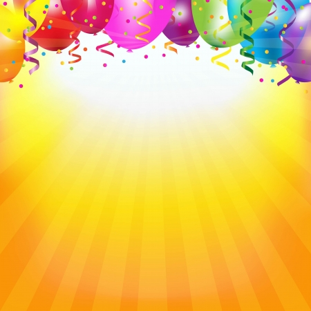 party streamers: Frame With Colorful Balloons And Sunburst With Gradient Mesh, Vector Illustration Illustration