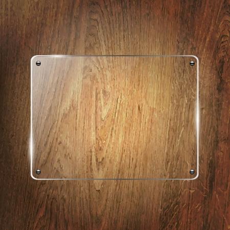 Glass Shelf On Wood Background, Vector Illustration