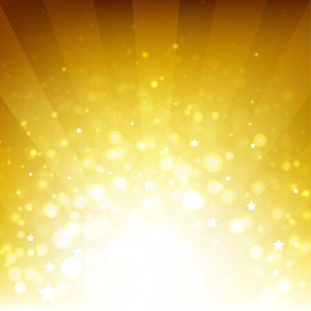 glitzy: Golden Background With Sunburst And Stars With Gradient Mesh, Vector Illustration