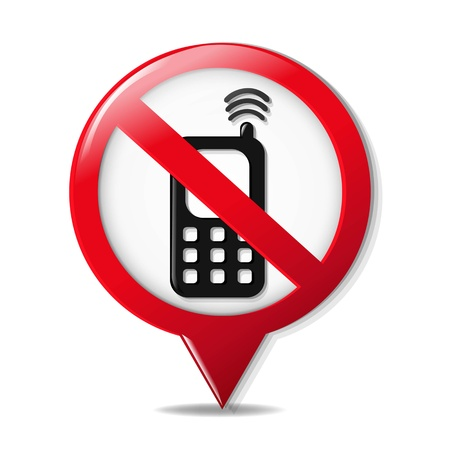 cell phones not allowed: No Cell Phone Sign With Gradient Mesh, Vector Illustration