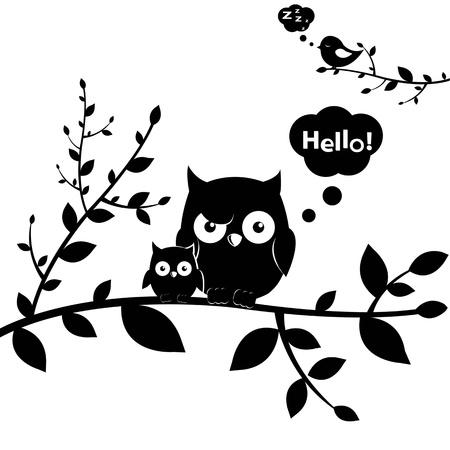 dessin noir blanc: 2 hiboux, isol� sur fond blanc, illustration vectorielle