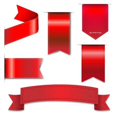 silk ribbon: Red Web Ribbons Set With Gradient Mesh, Vector Illustration