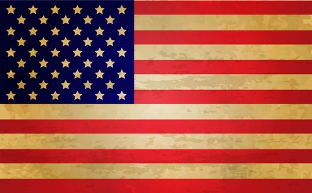 antiqued: Usa Flag, Retro Illustration, Vector Illustration