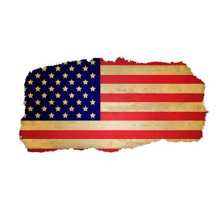 united states flag: Usa Flag With Rip Paper, Retro Illustration, Vector Illustration