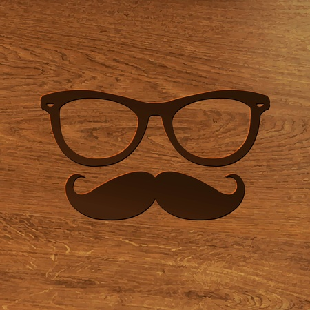 wooden vector mesh: Wooden Background With Hipster Symbol With Gradient Mesh, Vector Illustration Illustration