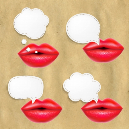Red Lips Set With Speech Bubbles Ilustracja