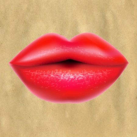 lip gloss: Red Lips With Retro Paper Illustration