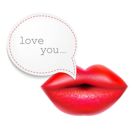 Red Lips With Speech Bubble, With Gradient Mesh Illustration Vector
