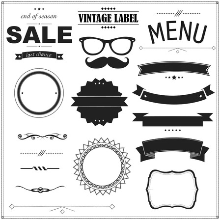 quality guarantee: Set Of Vintage Black Badges Illustration