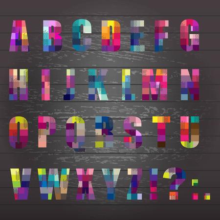 roman alphabet:  Alphabet  With Black Wooden Background, Vector Illustration