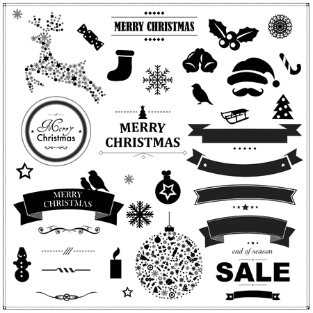 Set Of Vintage Black Christmas Symbols And Ribbons, With Gradient Mesh, Vector Illustration Vector