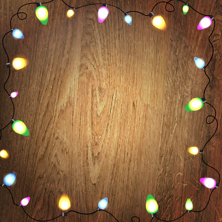 wooden vector mesh: Wooden Background Color Bulb Garland, With Gradient Mesh, Vector Illustration