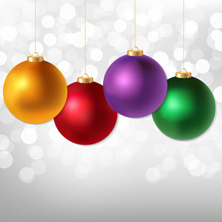 Christmas Balls And Silver Bokeh, With Gradient Mesh, Vector Illustration  Vector