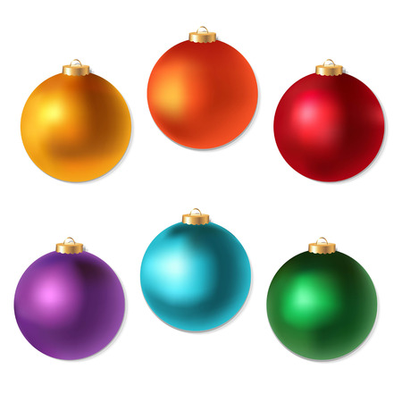 color balls: Colorful Christmas Balls Set, With Gradient Mesh, Vector Illustration