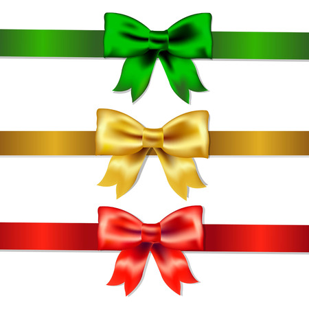 Set Of Color Bows, With Gradient Mesh, Vector Illustration