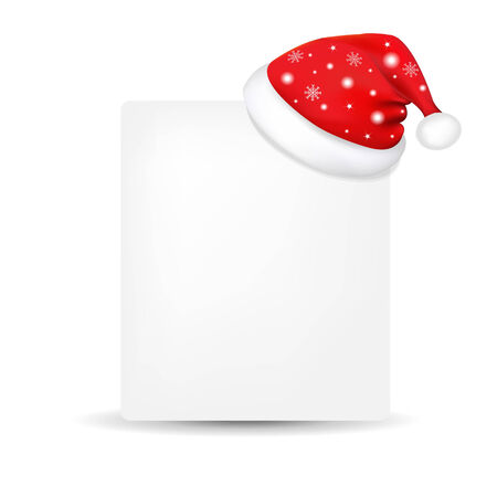 moroz: Xmas Blank Gift Tag With Santa Claus Cap, With Gradient Mesh, Vector Illustration