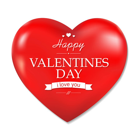 14th: Red Heart Valentines Day, With Gradient Mesh, Vector Illustration