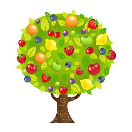 albero frutta: Albero da frutto, con gradiente maglie, illustrazione vettoriale Vettoriali