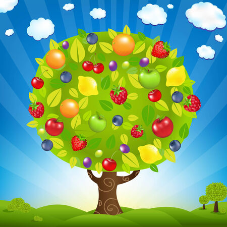 Fruit Tree With Landscape, With Gradient Mesh, Vector Illustration Vector