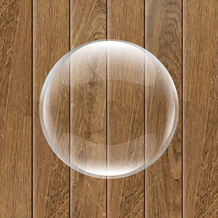 wooden vector mesh: Retro Wooden Background With Glass Ball, With Gradient Mesh, Vector Illustration