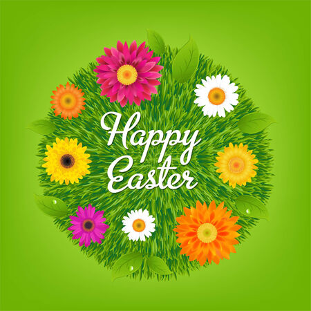 Happy Easter Ball With Flowers, With Gradient Mesh, Vector Illustration Vector