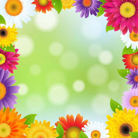 Color Gerbers Flower Frame, With Gradient Mesh, Vector Illustration Vector