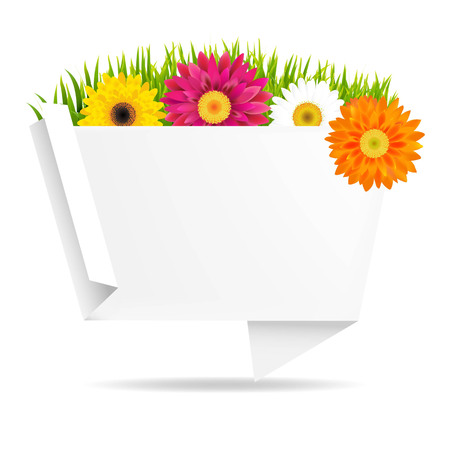 orange gerbera: Grass Border With Frower And Origami Banner, With Gradient Mesh, Vector