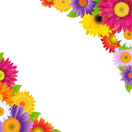 daisies: Colorful Gerbers Flowers Border, With Gradient Mesh, Vector Illustration