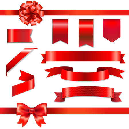 Red Bow With Ribbons Set, With Gradient Mesh, Vector Illustration