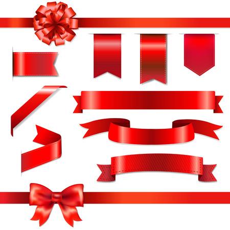 páska: Red Bow stuhami set s mřížky, vektorové ilustrace