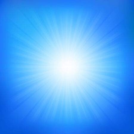 cloudless: Blue Sky With Sunburst, With Gradient Mesh, Vector Illustration