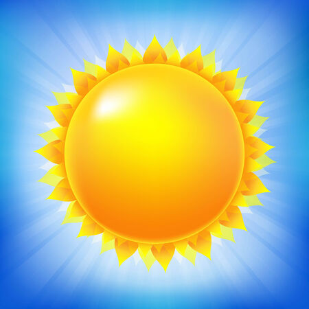 Bright Sun With Blue Sky, With Gradient Mesh, Vector Illustration Vector