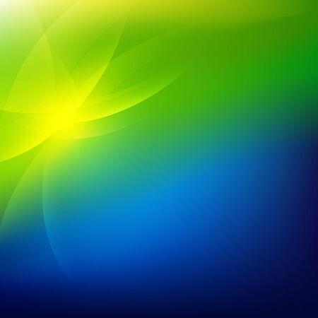 Groen En Blauw Natuur achtergrond, met Gradient Mesh, Vector Illustratie