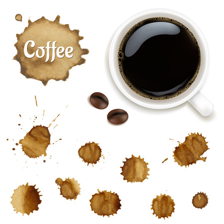 faience: Cup Of Coffee With Stains Set Illustration