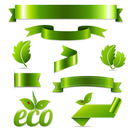Green Eco Symbols Set, With Gradient Mesh Illustration Vector