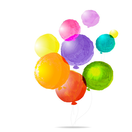 Color Balloons, With Gradient Mesh, Vector Illustration