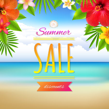 Summer Sale Card, With Gradient Mesh, Vector Illustration Vector