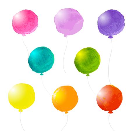 Watercolor Balloons Set, Vector Illustration Vectores
