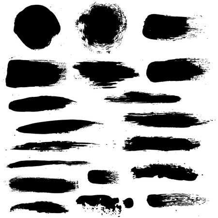 paint splat: Black Blobs Set, Vector Illustration Illustration