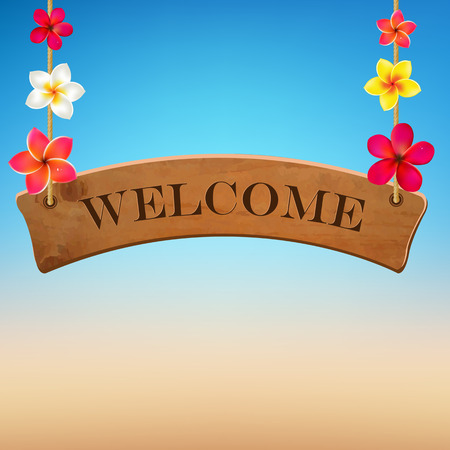 hawaii flower: Wooden Sign With Frangipani, Vector Illustration