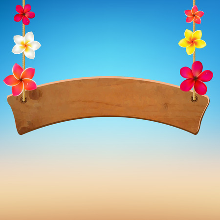 wooden vector mesh: Wooden Sign With Frangipani, With Gradient Mesh, Vector Illustration Illustration