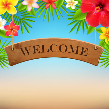 wooden vector mesh: Wooden Sign With Tropical Flowers, With Gradient Mesh, Vector Illustration