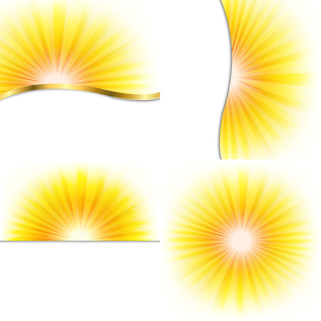 4 Summer Beams Posters, With Gradient Mesh, Vector Illustration Illustration