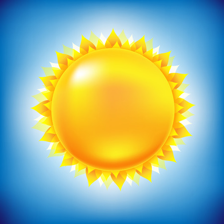 sun signs: Sun With Sky, With Gradient Mesh, Vector Illustration
