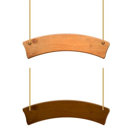Wooden Sign Set, Vector Illustration Vettoriali