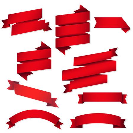 Red Web Ribbons Set, Vector Illustration