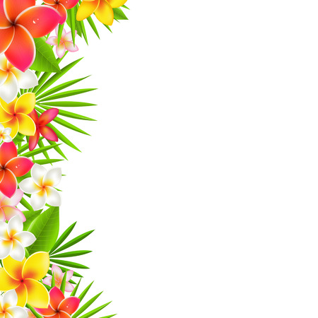 hawaiian: Flowers Border, With Gradient Mesh, Illustration