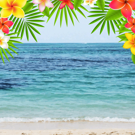 Happy Summer Time Poster With Frangipani, With Gradient Mesh, Illustration